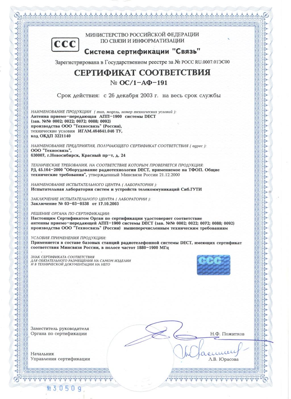 Сертификат на антенну АПП-1900